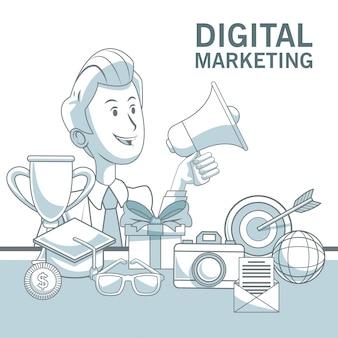 Fond blanc avec des sections de couleur d'homme d'affaires tenant mégaphone et éléments de marketing numérique