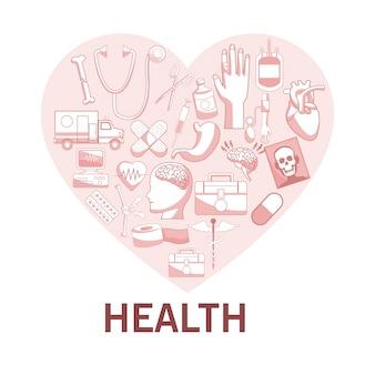 Fond blanc avec des sections de couleur rouge de la silhouette en forme de cœur avec la santé des éléments