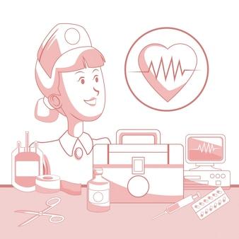 Fond blanc avec des sections de couleur rouge de silhouette infirmière éléments santé et icône heartbeat dans un cadre circulaire