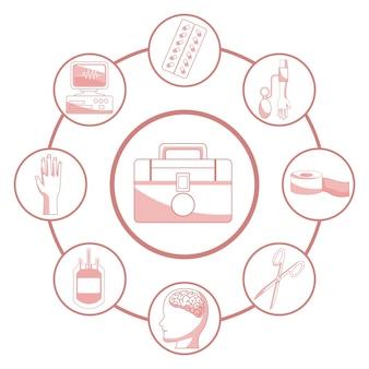 Fond blanc avec des sections de couleur rouge de la silhouette premier kit d'aide connecté à des éléments de cadres circulaires santé