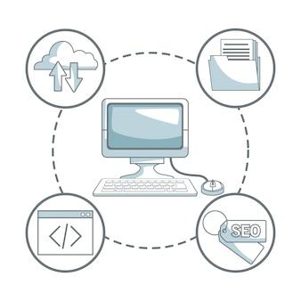 Fond blanc avec des sections de couleur silhouette ombrage du développement de l'ordinateur de bureau et des icônes autour