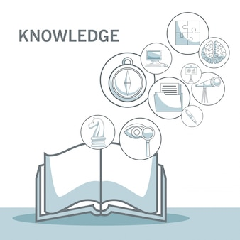 Fond blanc avec des sections de couleur silhouette ombrage du livre ouvert avec des icônes flottantes connaissances vector illustration