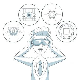 Fond blanc avec des sections de couleur silhouette ombrage de l'homme avec des lunettes de réalité virtuelle et des éléments d'icône futuriste