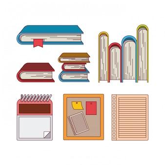 Fond blanc avec silhouette de couleur définie bureau de livres