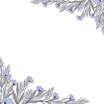 Fond blanc simple avec fleur de pulpe et feuilles grises pour carte de voeux