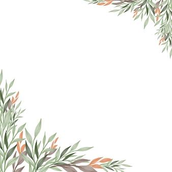Fond blanc simple avec des plantes vertes et oranges pour carte de voeux