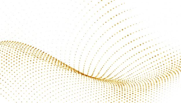 Fond blanc avec vague étincelante dorée