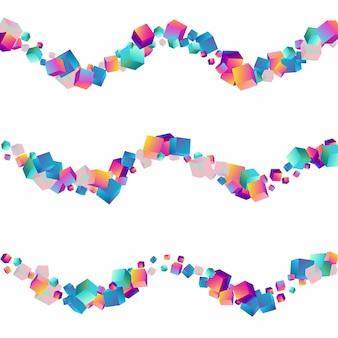 Fond blanc de vecteur de boîte de dégradé. présentation de confettis de style holographique. papier de polygone abstrait. fond d'écran géométrique d'éléments multicolores.