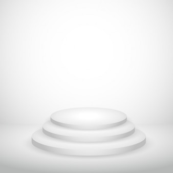 Fond blanc vide avec podium