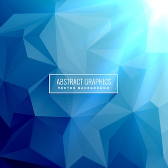 Fond bleu abstrait avec faible poly formes triangulaires