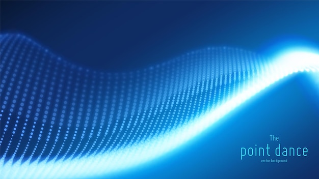 Fond bleu abstrait avec onde de particules