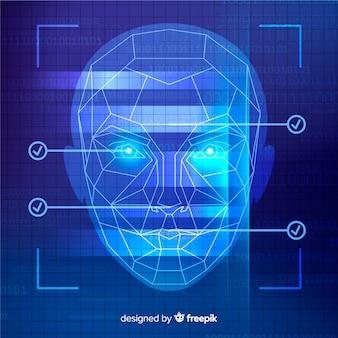 Fond bleu abstrait de reconnaissance faciale