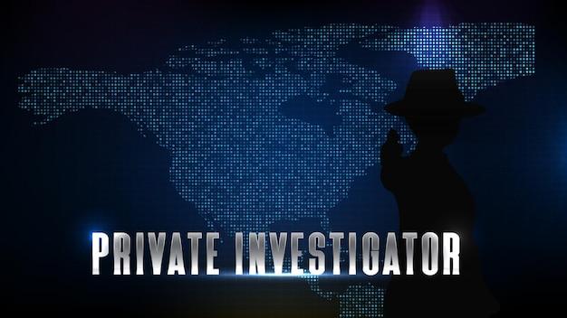 Fond bleu abstrait de technologie futuriste de la silhouette du détective privé d'enquêteur et de la carte de l'amérique du nord