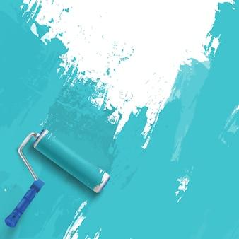 Fond bleu avec brosse à rouleau