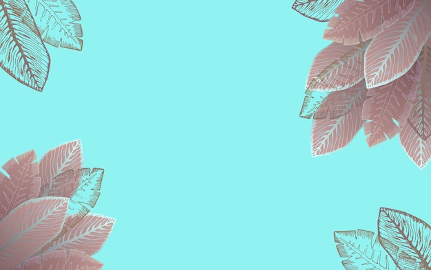 Fond bleu clair horizontal avec des feuilles tropicales marron foncé et roses