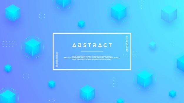 Fond bleu avec une combinaison de cubes modernes.