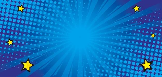 Fond bleu comique éclaté avec étoile