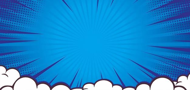 Fond bleu comique éclaté avec nuage