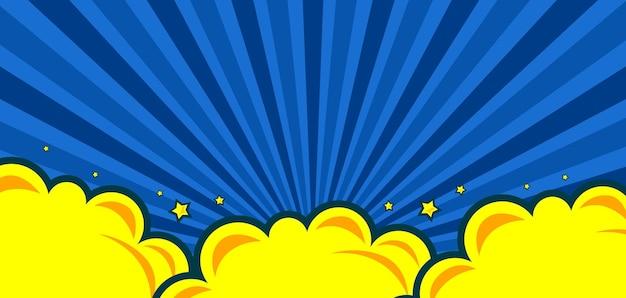 Fond bleu comique avec étoile