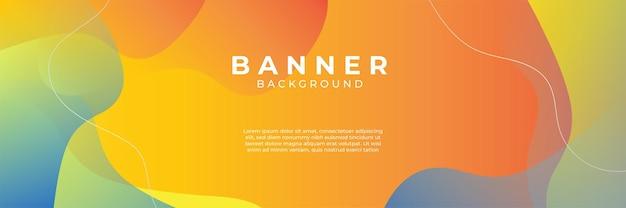 Fond bleu avec composition de couleur orange et jaune en résumé. des arrière-plans abstraits avec une combinaison de lignes et de points circulaires peuvent être utilisés pour vos bannières publicitaires, votre modèle de bannière de vente, etc.