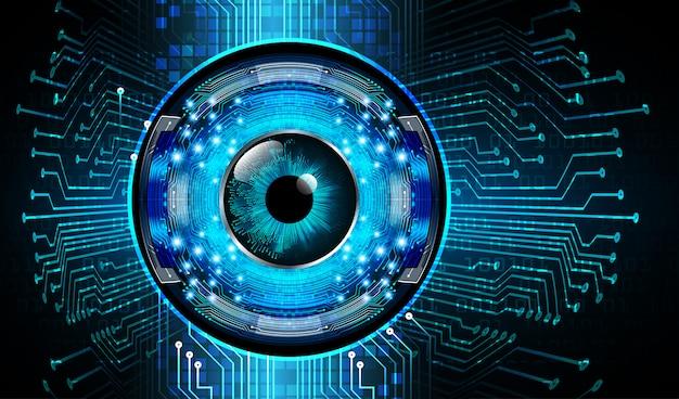 Fond bleu concept de technologie future cyber-circuit oeil bleu