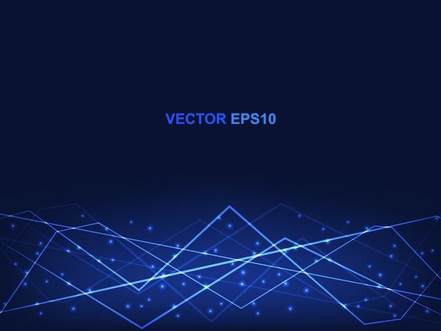 Fond bleu de concept de technologie polygonale. hi-tech futuriste moderne pour la science et la technologie numérique