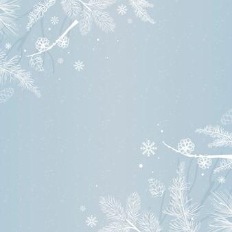 Fond bleu avec décoration d'hiver
