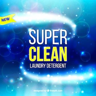 Fond bleu de détergent à lessive