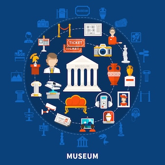 Fond bleu du musée avec des icônes de couleur au design rond, y compris des artefacts historiques archéologiques de paléontologie et des objets d'art à plat
