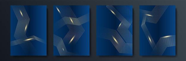 Fond bleu avec des éléments abstraits dorés. fond or bleu chevauchement dimension géométrique abstraite moderne. fond or bleu marine élégant avec couche de chevauchement. costume pour les affaires et les entreprises