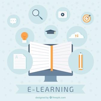 Fond bleu avec des éléments pour la formation en ligne