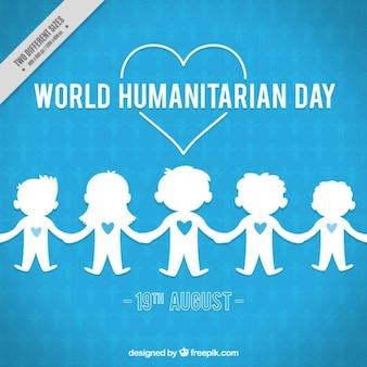 Fond bleu avec les enfants de la journée humanitaire