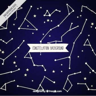 Fond bleu avec des étoiles et des constellations