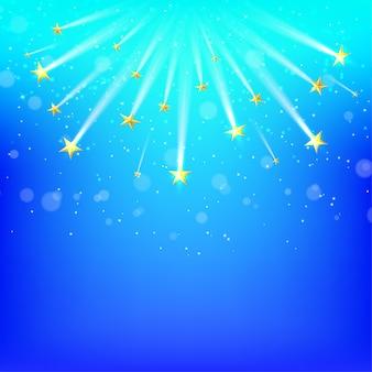 Fond bleu avec des étoiles d'or tombantes