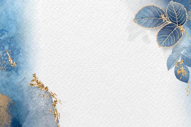 Fond bleu feuillu blanc
