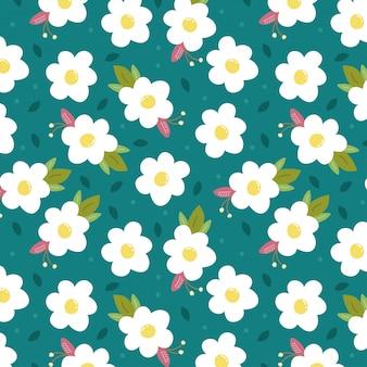 Fond bleu avec des fleurs blanches de printemps