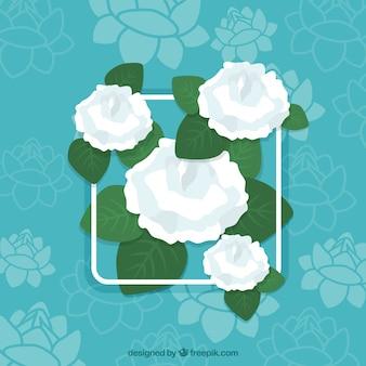 Fond bleu de fleurs blanches