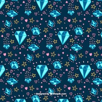 Fond bleu foncé avec des diamants en tons bleus
