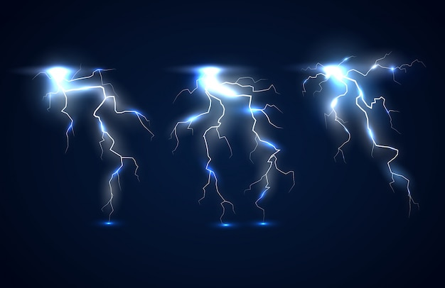 Sur un fond bleu foncé des éclairs étincelants avec effet électrique et des particules brillantes de la décharge