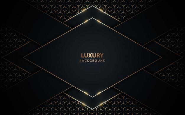 Fond bleu foncé de luxe avec décoration dorée
