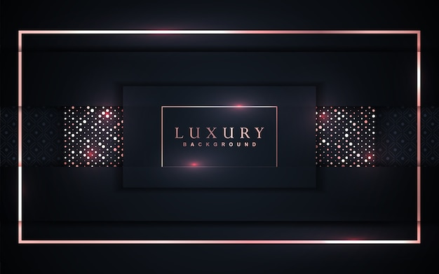 Fond bleu foncé de luxe avec décoration de paillettes dorées