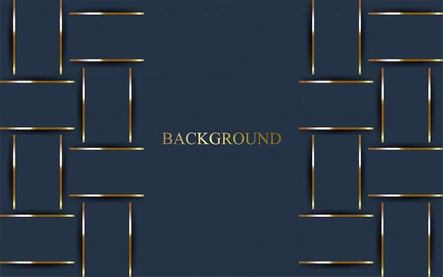 Fond bleu foncé de luxe avec ligne dorée.