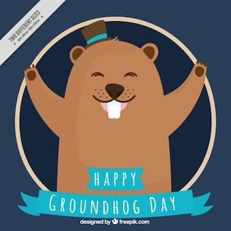 Fond bleu foncé de la marmotte heureuse