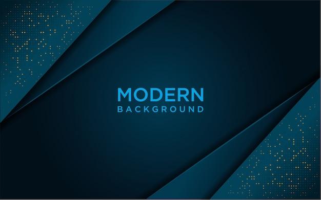 Fond bleu foncé moderne avec brillance, paillettes d'or