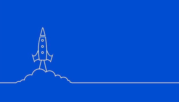 Fond bleu de fusée volante de style de ligne