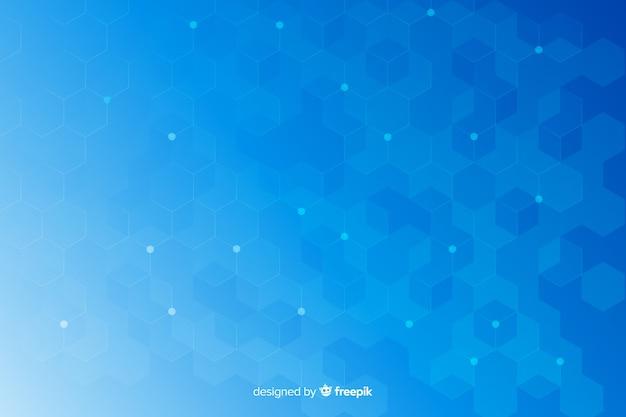 Fond bleu hexagonal de formes en nid d'abeille
