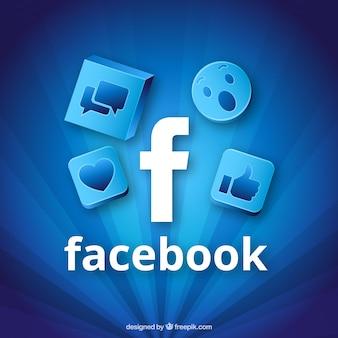 Fond bleu d'icônes de facebook