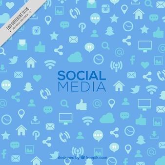 Fond bleu avec des icônes de médias sociaux