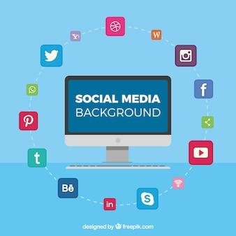 Fond bleu avec des icônes de réseaux sociaux et écran