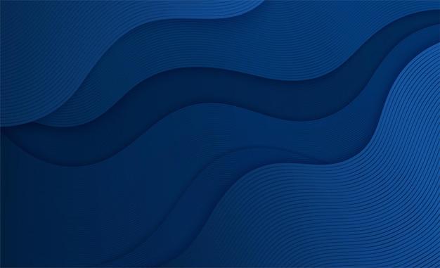 Fond bleu liquide ondulé avec des lignes. composition géométrique abstraite déplaçant des formes de courbes.